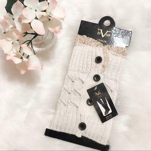 V Italia White Cream Knit Boot Cuff with Lace Trim